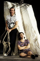 THE GOOD PERSON OF SICHUAN   by Brecht   design: Sue Blane   lighting: Jean Kalman   director: Deborah Warner ~Pete Postlethwaite (Yang Sun), Fiona Shaw (Shen Te)~Olivier Theatre / National Theatre (N...