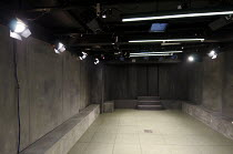 ELECTRA   by Sophocles   in a new version by Nick Payne   design: Holly Waddington   lighting: Guy Hoare   director: Carrie Cracknell ~stage   set   box   empty   lights~Gate Theatre, London W11   13/...