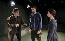 ELECTRA   by Sophocles   in a new version by Nick Payne   design: Holly Waddington   lighting: Guy Hoare   director: Carrie Cracknell ~l-r: Martin Turner (Strophius),  Alex Price (Orestes), Cath White...