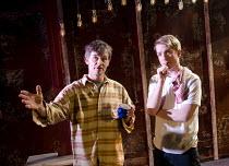 LAKEBOAT   by David Mamet   design: Helen Goddard   lighting: Emma Chapman   director: Abbey Wright ~l-r: Nigel Cooke (Joe), Steven Webb (Dale)~Arcola Theatre, London E8   14/04/2011