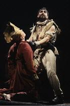 TAMBURLAINE THE GREAT   by Christopher Marlowe   design: Johan Engels   director: Terry Hands ~~l-r: Lloyd Hutchinson (Mycetes), Antony Sher (Tamburlaine) ~Royal Shakespeare Company (RSC) / Swan Theat...