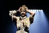 TAMBURLAINE THE GREAT   by Christopher Marlowe   design: Johan Engels   director: Terry Hands ~~Tamburlaine crowned: Antony Sher (Tamburlaine) ~Royal Shakespeare Company (RSC) / Swan Theatre     Strat...