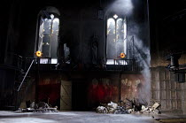 MACBETH   by Shakespeare   design: Tom Piper   lighting: Jean Kalman   director: Michael Boyd ~stage   set   empty   smoke   lights   windows   rubble~Royal Shakespeare Company (RSC) / Royal Shakespea...