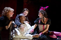 THE CITY MADAM   by Philip Massinger   design: Tom Piper   lighting: Tim Mitchell   director: Dominic Hill ~l-r: Liz Crowther (Secret), Nathaniel Martello-White (Goldwire), Christopher Chilton (Ding'e...