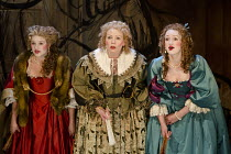 THE CITY MADAM   by Philip Massinger   design: Tom Piper   lighting: Tim Mitchell   director: Dominic Hill ~l-r: Matti Houghton (Mary), Sara Crowe (Lady Frugal), Lucy Briggs-Owen (Anne)~Royal Shakespe...