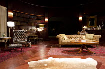 A DELICATE BALANCE   by Edward Albee   design: Laura Hopkins   lighting: Guy Hoare   director: James Macdonald ~stage   set   empty    props   furniture   books   rug~Almeida Theatre, London N1   12/0...