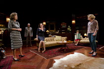 A DELICATE BALANCE   by Edward Albee   design: Laura Hopkins   lighting: Guy Hoare   director: James Macdonald ~l-r: Diana Hardcastle (Edna), Tim Pigott-Smith (Tobias) , Lucy Cohu (Julia), Imelda Stau...