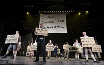 THE SCHOOL FOR SCANDAL   by Sheridan   set design: Jeremy Herbert   costumes: Kandis Cook   lighting: Jean Kalman   director: Deborah Warner ~prologue - the company~bite11 / Barbican Theatre, London E...