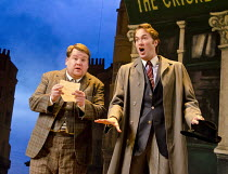 ONE MAN, TWO GUVNORS   by Richard Bean   after Goldoni's 'The Servant of Two Masters'   design: Mark Thompson   lighting: Mark Henderson   director: Nicholas Hytner ~~l-r: James Corden (Francis Hensha...