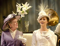 PYGMALION   by Bernard Shaw   design & direction: Philip Prowse   lighting: Gerry Jenkinson ~~l-r: Marty Cruickshank (Mrs Eynsford Hill), Kara Tointon (Eliza Doolittle)~Chichester Festival Theatre pro...
