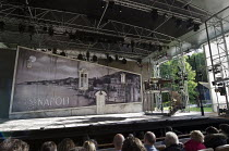 auditorium view of stage and outdoors Garsington Opera at Wormsley, near High Wycombe, Buckinghamshire, England   06/2011