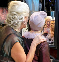 A CAVALIER FOR MILADY   by Tennessee Williams   design: Cherry Truluck   lighting: Phil Hewitt   director: Gene David Kirk   l-r: (in mirror) Janet Prince (The Mother), Lucinda Curtis (Mrs Aid) Jerm...