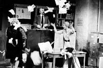 ALPHABETICAL ORDER   by Michael Frayn   set design: Alan Tagg   costumes: Frances Haggett   lighting: Howard Eldridge   director: Michael Rudman ~centre: Bernard Gallagher (Wally)   right: Billie Whit...