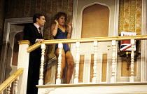 NOISES OFF   by Michael Frayn   set design: Michael Annals   costumes: Brenda Murphy   lighting: Spike Gaden   director: Michael Blakemore ~~Nicky Henson (Garry Lejeune), Rowena Roberts (Brooke Ashton...