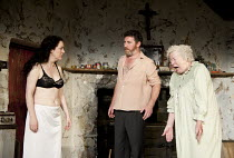 THE BEAUTY QUEEN OF LEENANE   by Martin McDonagh   design: Ultz   lighting: Charles Balfour   director: Joe Hill-Gibbins   l-r: Derbhla Crotty (Maureen Folan), Frank Laverty (Pato Dooley), Rosaleen L...