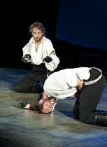 HENRY IV part i   by Shakespeare   set design: Simon Higlett   costumes: Christopher Woods   lighting: Peter Mumford   fight director: Kate Waters   director: Peter Hall ~(rear) Tom Mison (Prince Hal)...