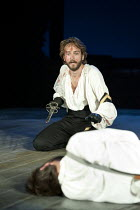 HENRY IV part i   by Shakespeare   set design: Simon Higlett   costumes: Christopher Woods   lighting: Peter Mumford   fight director: Kate Waters   director: Peter Hall ~Tom Mison (Prince Hal) after...