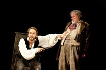 HENRY IV part i   by Shakespeare   set design: Simon Higlett   costumes: Christopher Woods   lighting: Peter Mumford   fight director: Kate Waters   director: Peter Hall ~l-r: Tom Mison (Prince Hal),...