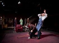 THE HOMECOMING   by Pinter   design: Jon Bausor   lighting: Jon Clark   director: David Farr ~front, l-r: (crawling away) Richard Riddell (Joey), Nicholas Woodeson (Max), Des McAleer (Sam) rear, l-r:...