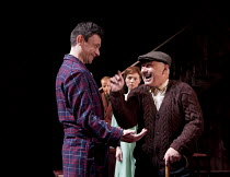 THE HOMECOMING   by Pinter   design: Jon Bausor   lighting: Jon Clark   director: David Farr ~l-r: Justin Salinger (Teddy), Aislin McGuckin (Ruth), Nicholas Woodeson (Max)~Royal Shakespeare Company (R...