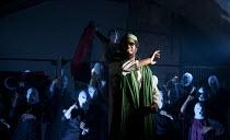 DAYS OF RAGE   design: James Button   lighting: Cressida Klaces   director: Paul Roseby   Sope Dirisu (Gaddaffi)  National Youth Theatre (NYT) / Old Vic Tunnels, London SE1   22/08/2011