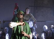 DAYS OF RAGE   design: James Button   lighting: Cressida Klaces   director: Paul Roseby   Sope Dirisu (Gaddaffi)  National Youth Theatre (NYT) / The Old Vic Tunnels, London SE1   22/08/2011