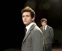 SOUTH DOWNS   by David Hare   design: Tom Scutt   lighting: Bruno Poet   director: Jeremy Herrin ~l-r: Jonathan Bailey (Jeremy Duffield), Alex Lawther (John Blakemore)~Minerva Theatre / Chichester Fes...
