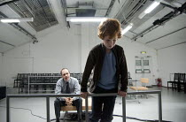ONE FOR THE ROAD   by Harold Pinter   design: Alex Lowde   lighting: Mischa Twitchin   director: Jeff James ~l-r: Kevin Doyle (Nicolas), Thomas Capodici (Nicky)~The Print Room / Young Vic co-productio...