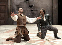 OTHELLO   by Shakespeare   design: Morgan Large   lighting: Lucy Carter   director: Daniel Evans ~~l-r: Dominic West (Iago), Clarke Peters (Othello)~Crucible Theatre / Sheffield, England   20/09/2011