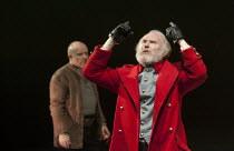 KING LEAR   by Shakespeare   design: Ruari Murchison   lighting: Chris Davey   director: Ian Brown ~l-r: Tim Frances (Earl of Kent), Tim Pigott-Smith (King Lear)~West Yorkshire Playhouse (WYP) / Leeds...