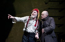 KING LEAR   by Shakespeare   design: Ruari Murchison   lighting: Chris Davey   director: Ian Brown ~l-r: Tim Pigott-Smith (King Lear), Tim Frances (Earl of Kent)~West Yorkshire Playhouse (WYP) / Leeds...