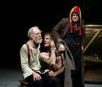 KING LEAR   by Shakespeare   design: Ruari Murchison   lighting: Chris Davey   director: Ian Brown ~l-r: Tim Pigott-Smith (King Lear), Sam Crane (Edgar / Poor Tom), Richard O'Callaghan (Fool)~West Yor...