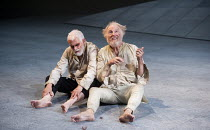 KING LEAR   by Shakespeare   design: Ruari Murchison   lighting: Chris Davey   director: Ian Brown ~l-r: Bernard Lloyd (Earl of Gloucester), Tim Pigott-Smith (King Lear) ~West Yorkshire Playhouse (WYP...