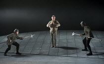 KING LEAR   by Shakespeare   design: Ruari Murchison   lighting: Chris Davey   director: Ian Brown ~Lear under arrest - centre: Tim Pigott-Smith (King Lear) ~West Yorkshire Playhouse (WYP) / Leeds, En...