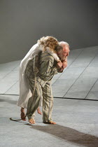 KING LEAR   by Shakespeare   design: Ruari Murchison   lighting: Chris Davey   director: Ian Brown ~final scene - Lear carries dead Cordelia: Olivia Morgan (Cordelia), Tim Pigott-Smith (King Lear)~Wes...