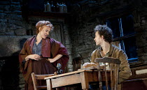 THE PLAYBOY OF THE WESTERN WORLD   by J M Synge   design: Scott Pask   lighting: Howard Harrison   director: John Crowley ~Niamh Cusack (Widow Quin), Robert Sheehan (Christopher Mahon)~Old Vic Theatre...