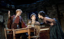 THE PLAYBOY OF THE WESTERN WORLD   by J M Synge   design: Scott Pask   lighting: Howard Harrison   director: John Crowley ~l-r: Niamh Cusack (Widow Quin), Robert Sheehan (Christopher Mahon), Ruth Negg...