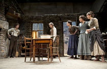 THE PLAYBOY OF THE WESTERN WORLD   by J M Synge   design: Scott Pask   lighting: Howard Harrison   director: John Crowley ~l-r: Robert Sheehan (Christopher Mahon), Grainne Keenan (Sara Tansey), Bronag...