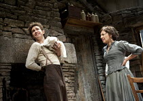THE PLAYBOY OF THE WESTERN WORLD   by J M Synge   design: Scott Pask   lighting: Howard Harrison   director: John Crowley ~Robert Sheehan (Christopher Mahon), Karen Cogan (Nelly McLaughlin)~Old Vic Th...