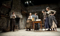 THE PLAYBOY OF THE WESTERN WORLD   by J M Synge   design: Scott Pask   lighting: Howard Harrison   director: John Crowley ~l-r: Robert Sheehan (Christopher Mahon), Grainne Keenan (Sara Tansey), Karen...