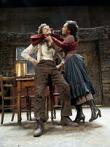 THE PLAYBOY OF THE WESTERN WORLD   by J M Synge   design: Scott Pask   lighting: Howard Harrison   director: John Crowley ~Robert Sheehan (Christopher Mahon), Ruth Negga (Pegeen Mike) ~Old Vic Theatre...