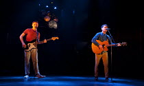 THE TWO GENTLEMEN OF VERONA   by Shakespeare   design: Paul Wills   lighting: Philip Gladwell   choreography: RashDash   director: Matthew Dunster ~l-r: Alexander Cobb (Proteus), Joe Doyle (Valentine)...