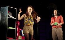 THE TWO GENTLEMEN OF VERONA   by Shakespeare   design: Paul Wills   lighting: Philip Gladwell   choreography: RashDash   director: Matthew Dunster ~l-r: Abbi Greenland (Julia), Charlotte Broom (Lucett...