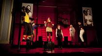 THE TWO GENTLEMEN OF VERONA   by Shakespeare   design: Paul Wills   lighting: Philip Gladwell   choreography: RashDash   director: Matthew Dunster ~centre, l-r: Vicki Manderson (Speed), Helen Goalen (...