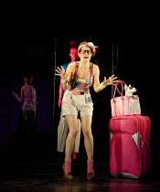 THE TWO GENTLEMEN OF VERONA   by Shakespeare   design: Paul Wills   lighting: Philip Gladwell   choreography: RashDash   director: Matthew Dunster ~Clemmie Sveaas (Launce) with Crab~Theatre Royal / Ro...