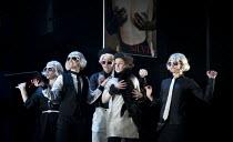 THE TWO GENTLEMEN OF VERONA   by Shakespeare   design: Paul Wills   lighting: Philip Gladwell   choreography: RashDash   director: Matthew Dunster ~at the fashion show - centre: Helen Goalen (Silvia)~...