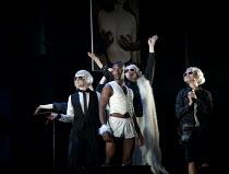 THE TWO GENTLEMEN OF VERONA   by Shakespeare   design: Paul Wills   lighting: Philip Gladwell   choreography: RashDash   director: Matthew Dunster ~centre: Malachi Kirby (Thurio)~Theatre Royal / Royal...