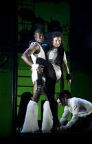 THE TWO GENTLEMEN OF VERONA   by Shakespeare   design: Paul Wills   lighting: Philip Gladwell   choreography: RashDash   director: Matthew Dunster ~Malachi Kirby (Thurio), Helen Goalen (Silvia)~Theatr...
