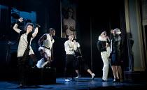 THE TWO GENTLEMEN OF VERONA   by Shakespeare   design: Paul Wills   lighting: Philip Gladwell   choreography: RashDash   director: Matthew Dunster ~from front left: Helen Goalen (Silvia), Malachi Kirb...