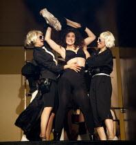 THE TWO GENTLEMEN OF VERONA   by Shakespeare   design: Paul Wills   lighting: Philip Gladwell   choreography: RashDash   director: Matthew Dunster ~centre: Helen Goalen (Silvia) ~Theatre Royal / Royal...